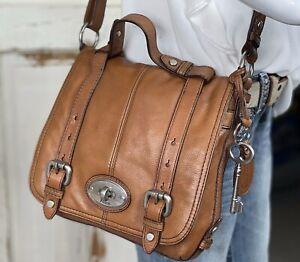 FOSSIL MADDOX Medium Brown Leather Organizer Traveler Crossbody Messenger Bag