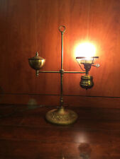 Antique Brass Student Single Converted Oil light Lamp Floral Detail on base