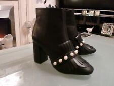 Ladies black pearl boots fringe ankle block heel size 6 EU 39 BNWT