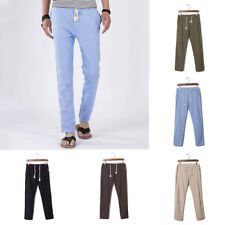 Mens Summer Linen Loose Straight Trousers Breathable Flax Casual Pants