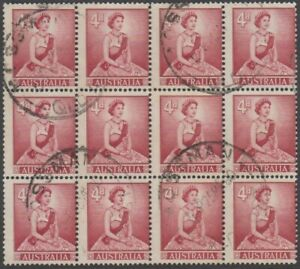 Stamps Australia 4d red QE2 block of 12 misperforated used MOSSMAN Queensland