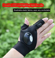 Outdoor Fishing Magic Strap Fingerless Glove LED Flashlight Torch Cover Camping