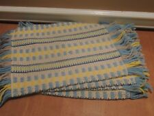 VINTAGE BLUE GRAY HAND WOVEN PLACEMATS WITH FRINGE SET OF FOUR 18 1/2 X 11 1/2""