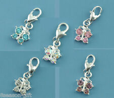 10 Mixed Butterfly Clip On Charm Fit Chain Bracelet
