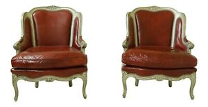 32811EC: Pair OLD HICKORY TANNERY French Louis XV Style Leather Wing Chairs