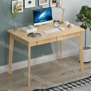 Modern Writing Study Wood Table Home Workstation Office Laptop Desk With Drawers