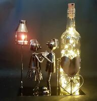 Novelty Bar Metal Wine Bottle Holder Display Loving Couple Figures Lights Candle
