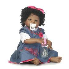 "Reborn Baby Girl Black African American Dolls Full Body Vinyl Silicone 22"" Bath"
