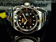 Invicta Mens 43mm Pro Diver Japanese Quartz Black Dial Gold IP Two Tone SS Watch