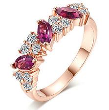 18K ROSE GOLD GF MARQUISE DARK PURPLE AMETHYST LADIES DRESS CRYSTAL BAND RING