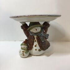 """Pedestal Plate Candy Dish Forest Friends St. Nicholas Square Snowman 6.5"""" tall"""