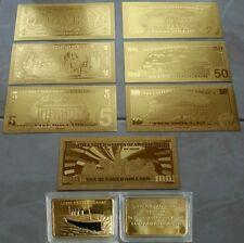 SET DI BANCONOTE D'ORO $ DOLLARI E LINGOTTO RICORDO DEL TITANIC 1912 IN 24K GOLD