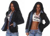 Giacca donna Trapuntata Giubbino leggero bordo in jeans Giubbotto 100 grammi