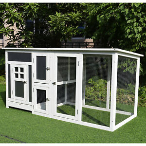 "63"" Wooden Tall Indoor Outdoor Chicken Coop House w/ Run& Nest Box"