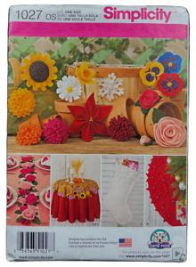 2015 Simplicity Sewing Pattern 1027 Felt Flowers 11 Designs Home Decor Rose 8562