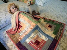 Vintage 1930s DOLL'S LOG CABIN QUILT Hand-Sewn Patchwork Satin Crepe Rayon More