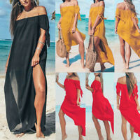 Women Chiffon Summer Beach Off Shoulder Maxi Dress Holiday Swimwear Cover Up