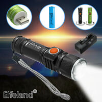 30000LM T6 LED Zoomable Flashlight USB Rechargeable 18650 Torch Lamp Light  Q