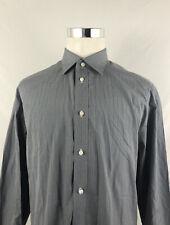 Luigi Borrelli Napoli Mens Gray Check Plaid Long Sleeve Button Down Shirt Sz 20
