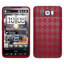 AMZER Red Luxe Argyle High Gloss TPU Soft Skin Fit Case Cover for HTC HD2
