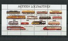 Modern Locomotives Trains Railway mnh minisheet of 4 stamps Tuva Republic
