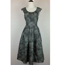Eshakti Fit Flare Dress Womens XS 2 Grid Gray