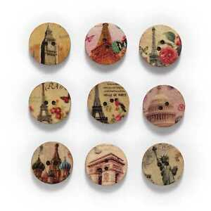 50pcs Retro series Wooden Buttons Scrapbook Sewing Clothing Crafts Handmade 20mm