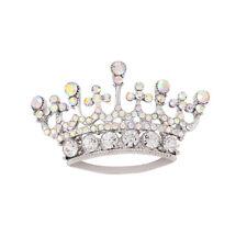 South Korean Fashion Queen Crown Diamante Rhinestone Brooch Pin Silver