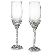Olivia Riegel Crystal Sinclair Champagne Wedding Flute Glasses Set of 2  New!