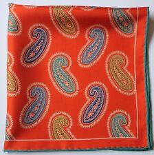 Naranja Paisley Suave Seda Bolsillo Cuadrado/Pañuelo para el cuello 45cm mano Rodado