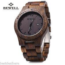 Bewell Wood Quartz Men's Wrist watch Wooden Band Analog Date Display Wristwatch