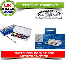 Winsor & Newton Cotman Sketchers Pocket Box Watercolour Paint 12 Half Pans plus