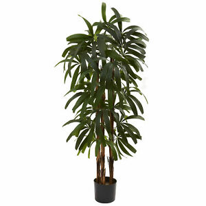 Raphis Palm Tree Artificial Silk Plant Nearly Natural 4' Home Office Decoration