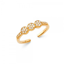 Toe Ring Adjustable -Foot Band Women 14K Solid Yellow Gold Cubic Zirconia Circle