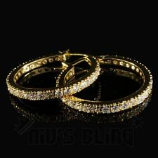 18K Gold ICED OUT AAA Simulate Diamond Micropave Huggie Hoop Hip Hop Earring H5G