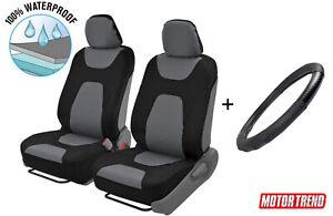 Waterproof Slip On Car Seat Cover & Leather Steering Wheel Cover Universal Black