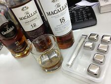Stainless Steel Ice Cube Rock Stone Box Set w TONG for Scotland Whiskey Macallan