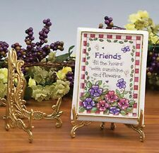 "Brass Easel, Plate or Book Stand, Floral Design, 7 1/2"" height"