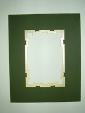 Picture Framing Mat Fancy Cut 8x10 for 5x7 photo Dark Green with metallic gold