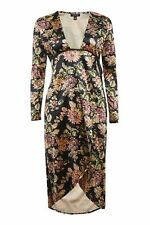 BNWT Topshop Velvet Floral Print Plunge Midi Wrap Dress 8