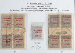 PARAGUAY 1930 Airmails Gutter Blocks + Color Variety + Zeppelin PostMark, Flight