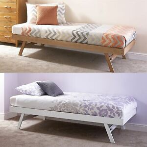 MADRID WOODEN 3FT SINGLE DAY BED FRAME & TRUNDLE GUEST BEDSTEAD OAK & WHITE