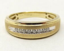 10K Gold Genuine Diamond Ring Sz 10 .16 Carat TCW White Yellow Textured Signed