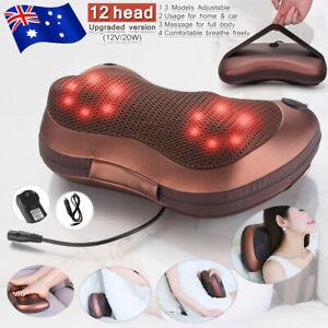 12 Drivers Electric Massage Pillow Lumbar Body Neck Massager Cushion Car Home AU