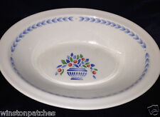 """JOHNSON BROTHERS JARDINIERE GREEN OVAL VEGETABLE BOWL 8 7/8"""" FRUIT IN BLUE VASE"""