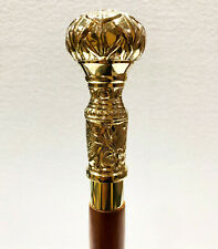 Antique Brass Knob Designer Handle Handmade Wood Walking Stick Cane Gift