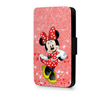 Minnie Mouse Disney Mouse Printed Glitter Faux Leather Phone Flip Case Cover