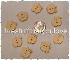 """Lot of 10 APPLE 2-hole Wooden Button 5/8"""" (16 x 15mm) Scrapbook Doll (1436)"""