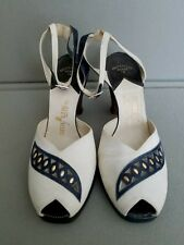 True Vtg 1940's Women'S 6A Navy White Platform Ankle Strap Heels Peep Toe Studs