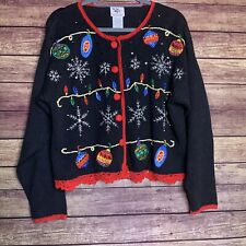 NutCracker Black Ugly Christmas Sweater Knit Button Up Cardigan Womens Small